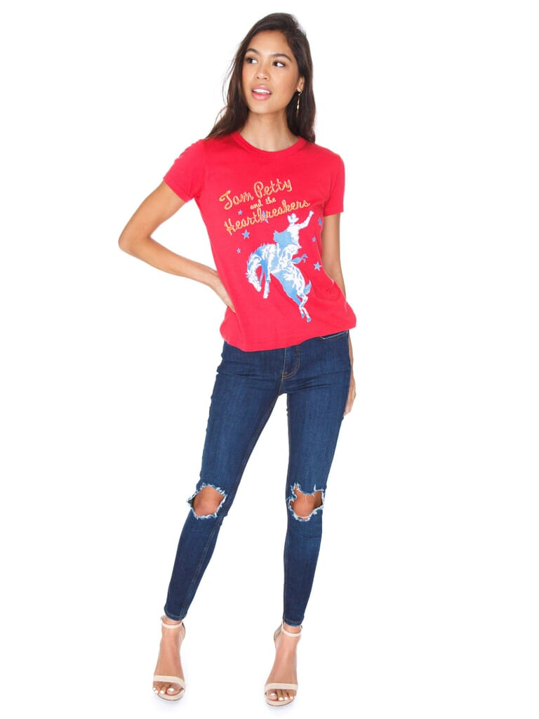 DAYDREAMER Tom Petty Out West Slim Tee in Red