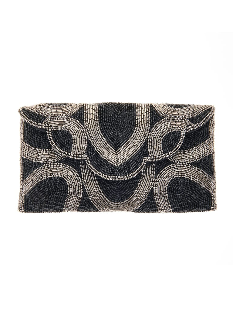 From St Xavier Tove Clutch in Black / Silver