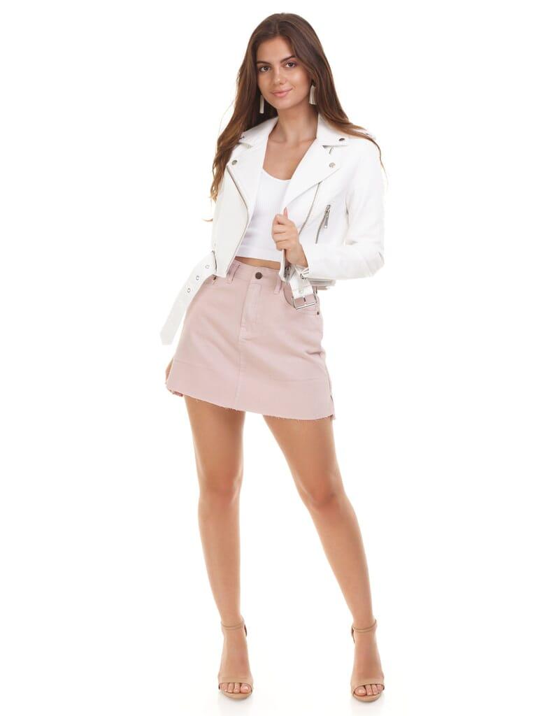 PISTOLA Tracy Moto Cropped Jacket in White