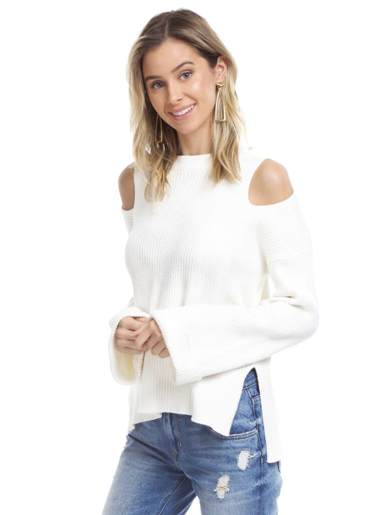 Line & Dot Trou Cold Shoulder Sweater in Ivory