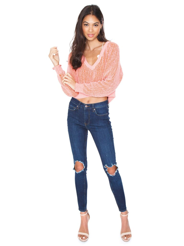 Free People V-Neck Sweater in Pink
