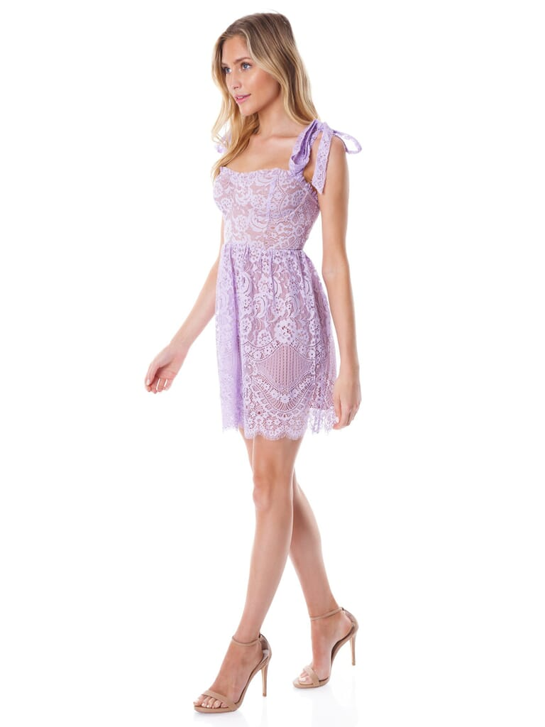 For Love & Lemons Valentina Lace Mini Dress in Lilac