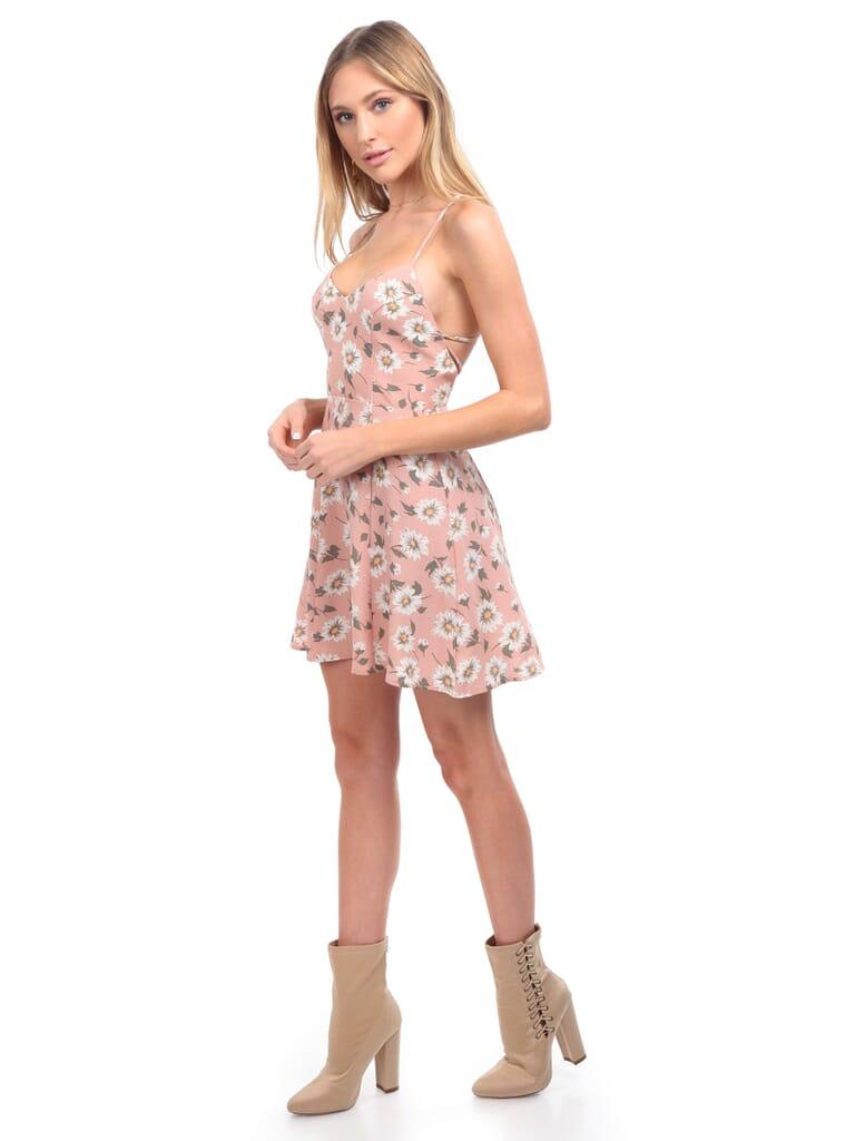 Show Me Your Mumu Victoria Mini Dress in Daisy Duke Floral Pebble
