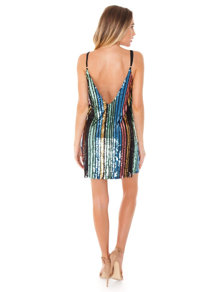 Show Me Your Mumu Vivian Slip Dress in Cocktail Stripe Sequins