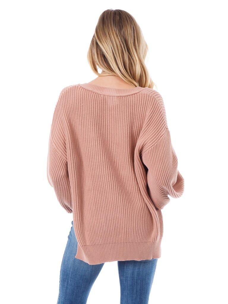 Lush V Neck Dolman Sweater in Blush