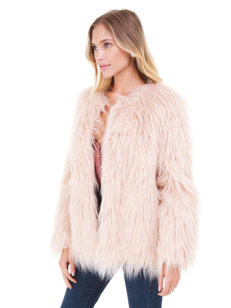 LOST + WANDER Warm Me Up Faux Fur Jacket in Blush Pink