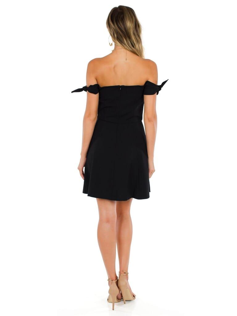 French Connection Whisper Light Off  Shoulder Dress in Black