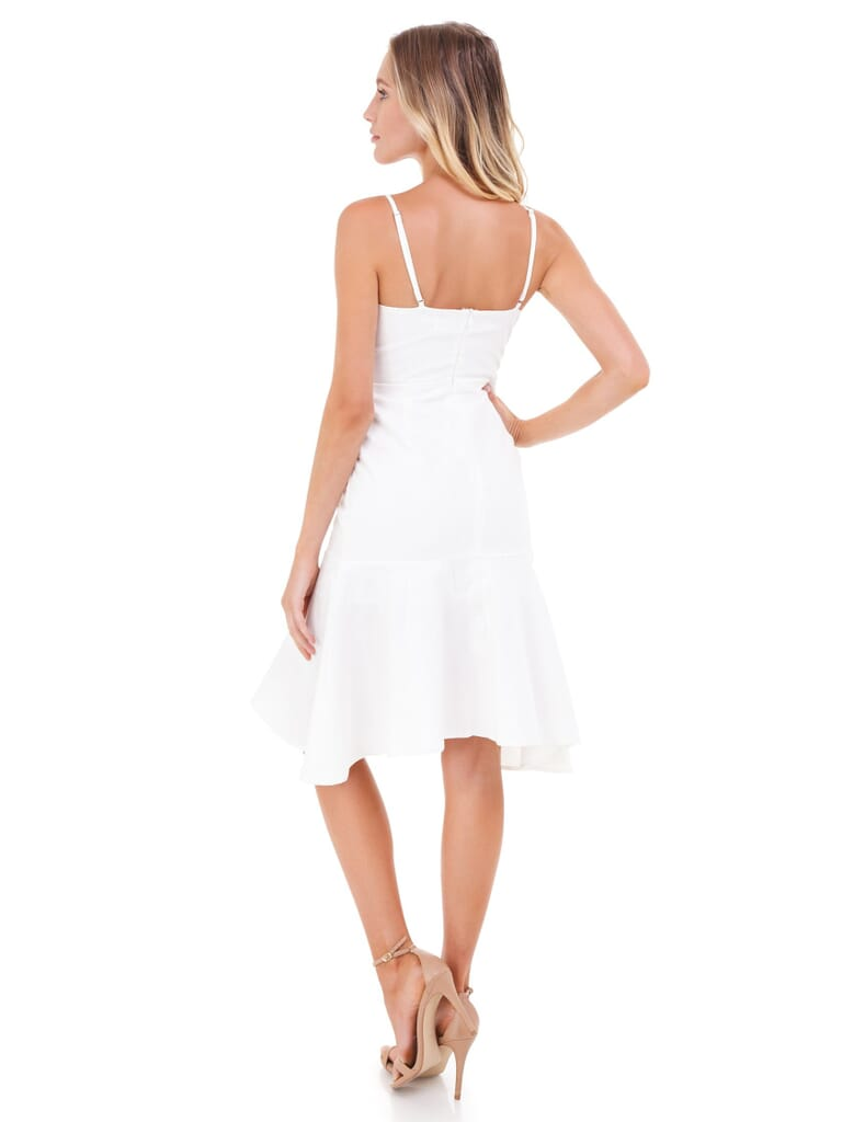 FashionPass Woven Tie Front Dress in Off White