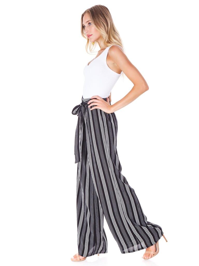 Sadie & Sage Xena Tie Waist Stripe Pants in Black