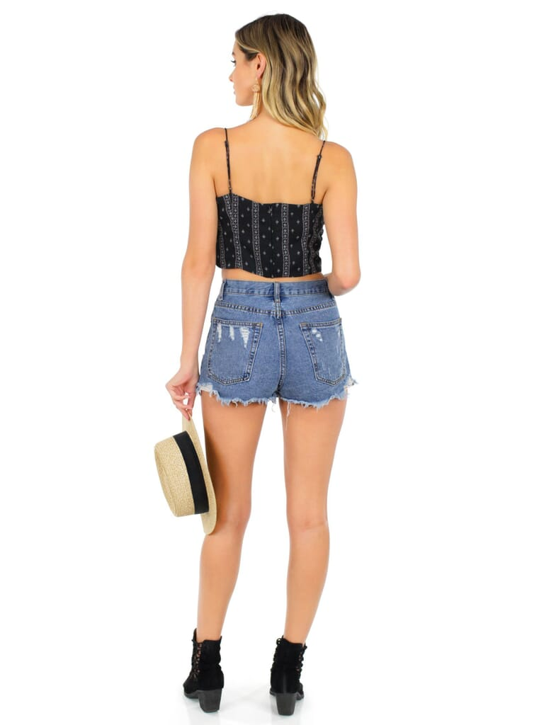 Lucca Couture You Wish Crop Top in Black/Pink