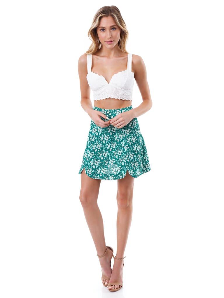 For Love & Lemons Zamira Floral Mini Skirt in Kelly